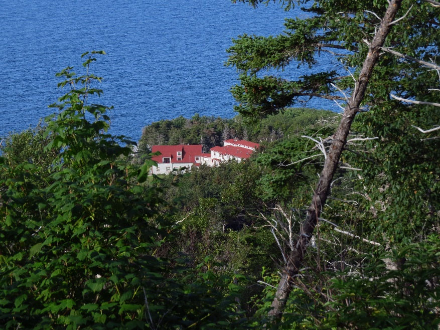 A glimpse back at monastery from shrine hill, Gampo Abbey, Cape Breton