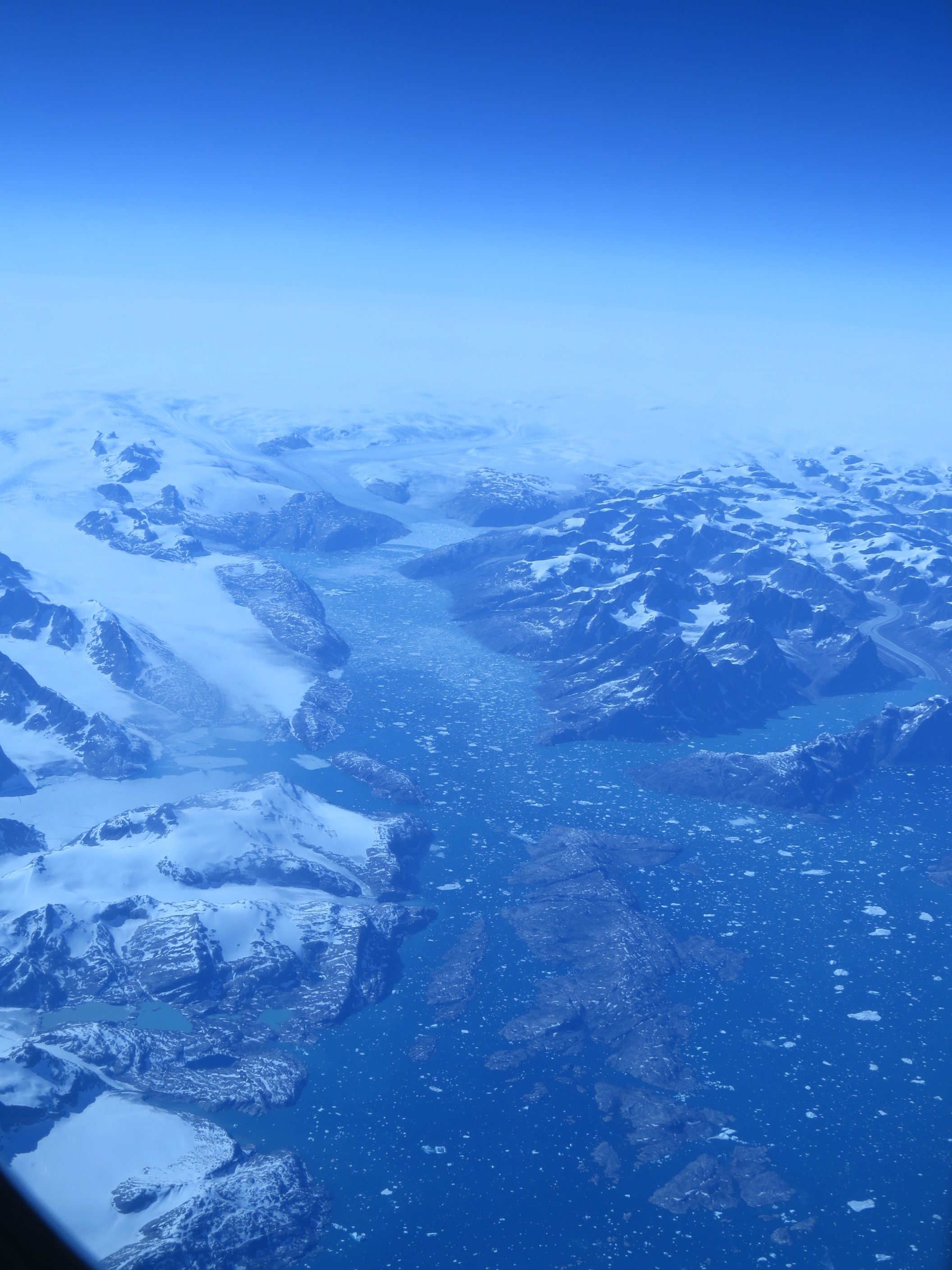 Greenland from the air. Slush river,