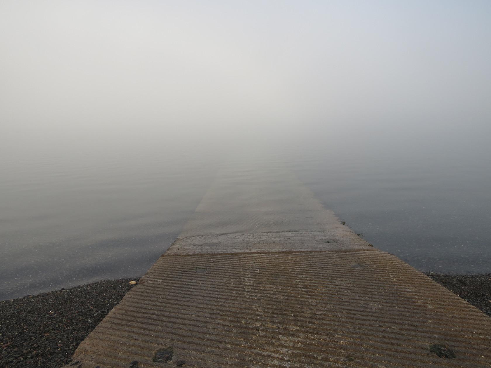Campobello's Deer Island's ferry dock in fog