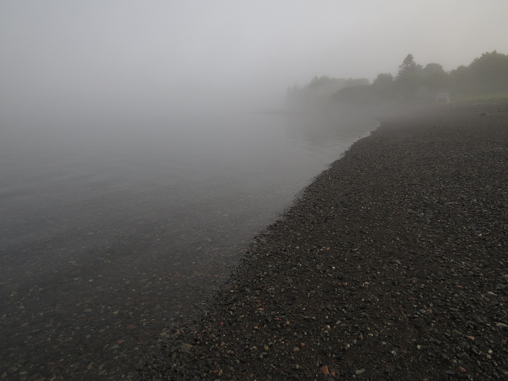 Fog shrouds Campobello beach