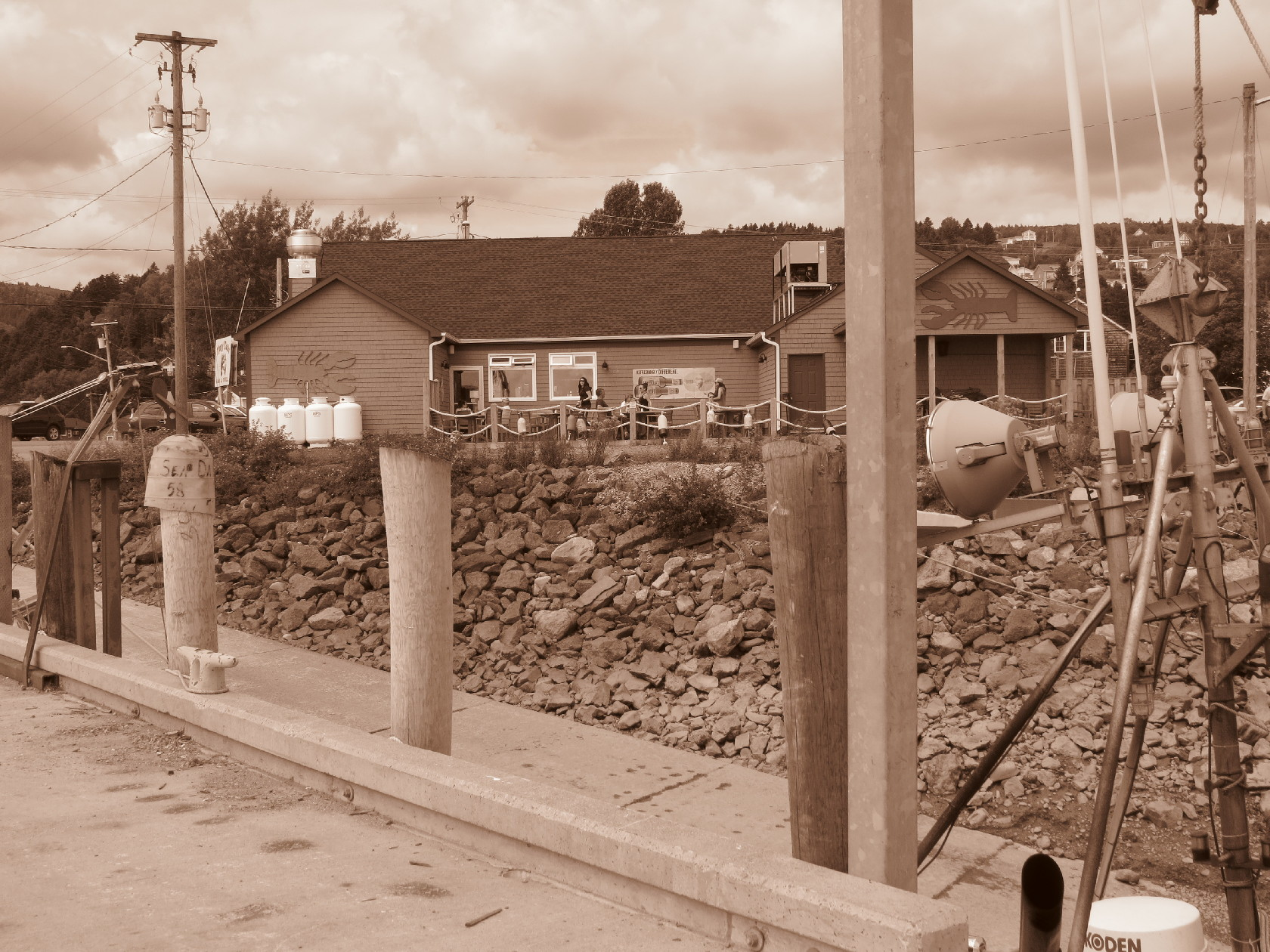 Town of Alma in Sepia by pier