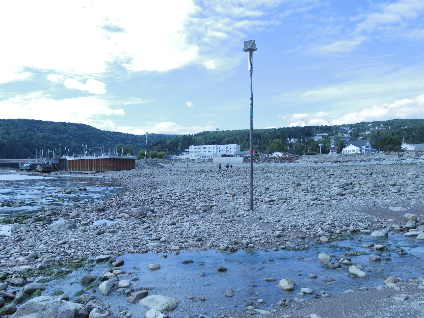 Tidal pole fully exposed at low tide, Alma, NB