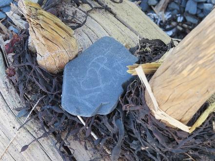 Love message on a beach rock, Campobello, NB