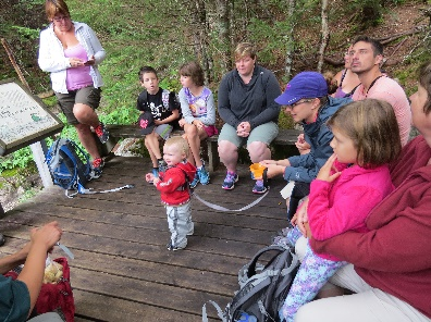 Group gatehring to eat at Edible Foods Walk, Fundy National Park