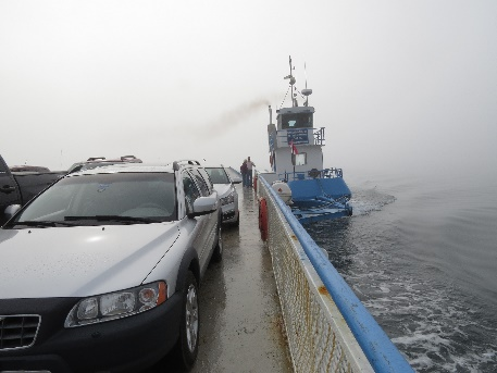 Campobello-Deer Island Ferry on the move. Motor pushing from side-back