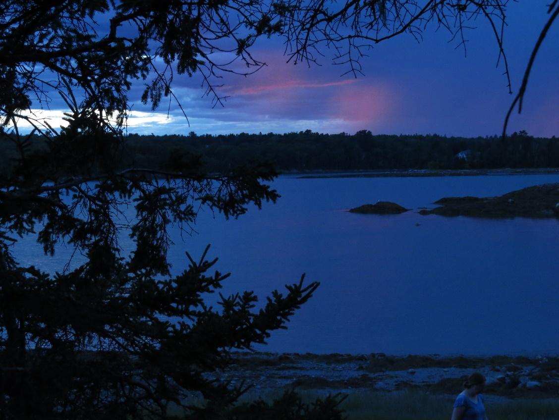 Light lingers over horizon, Flanders Bay, ME