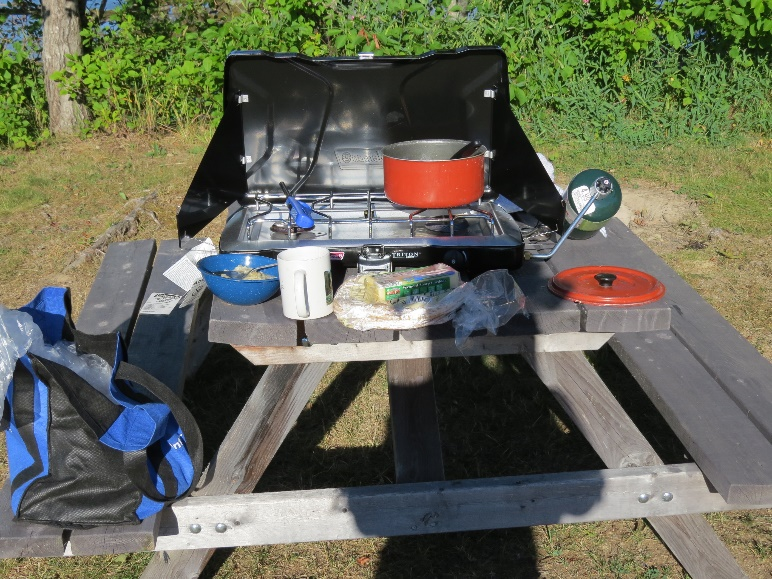 Two-burner gas stove at Mountainview Campground, ME