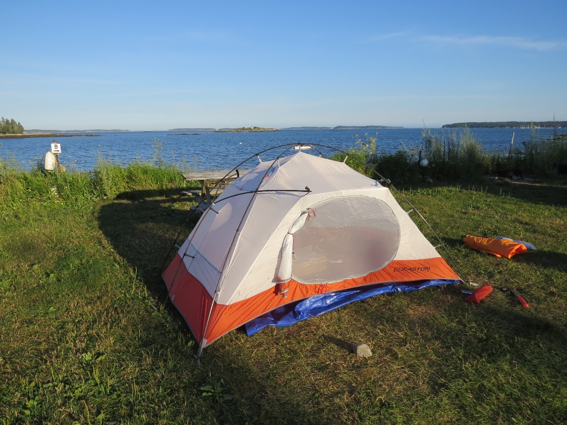 Easton Torrent tent at Lobster Buoy private campground, ME