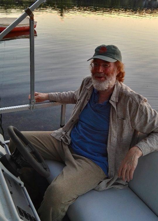 Jim on the pontoon, Kennebunk Lake, Lyman, ME