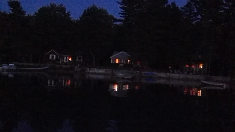 A look at the shore from the lake as dusk settles in, Kennebunk Pond, ME