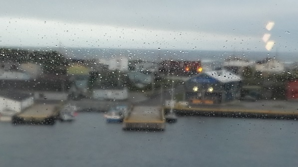 Newfoundland's ferry port emerging throught the cabin glass, Marine Atlantic