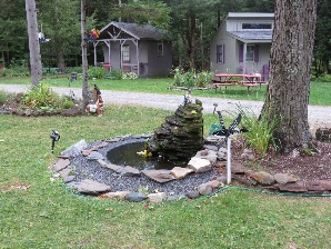 Garden decorations at RV park of Lazy Lions Campground, VT