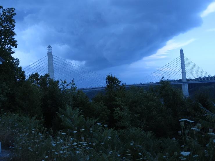 Stormy sky behind Fort Knox bridge