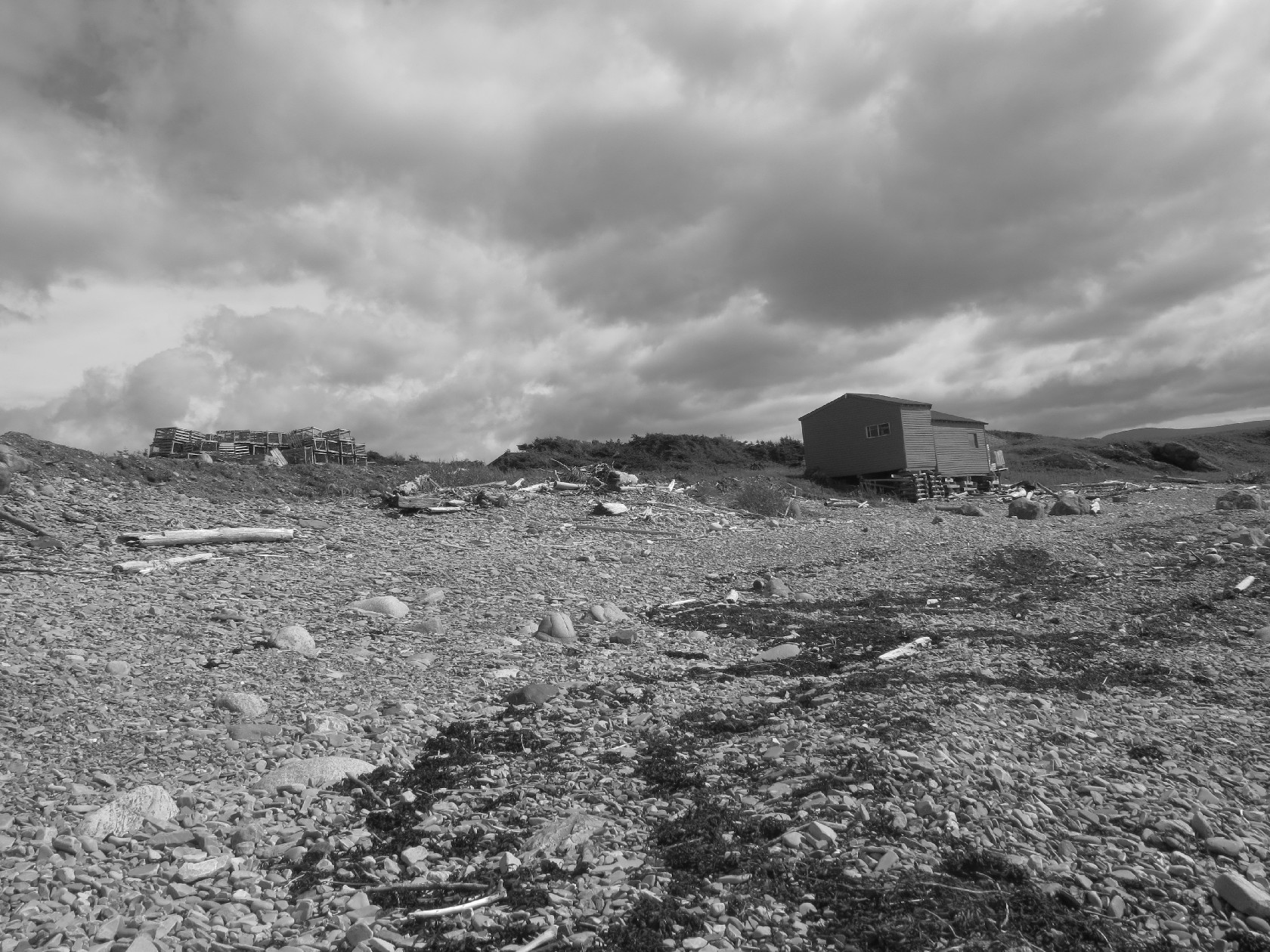 Forlorn, desolate huts at Broom's Point, Gros Morne coast