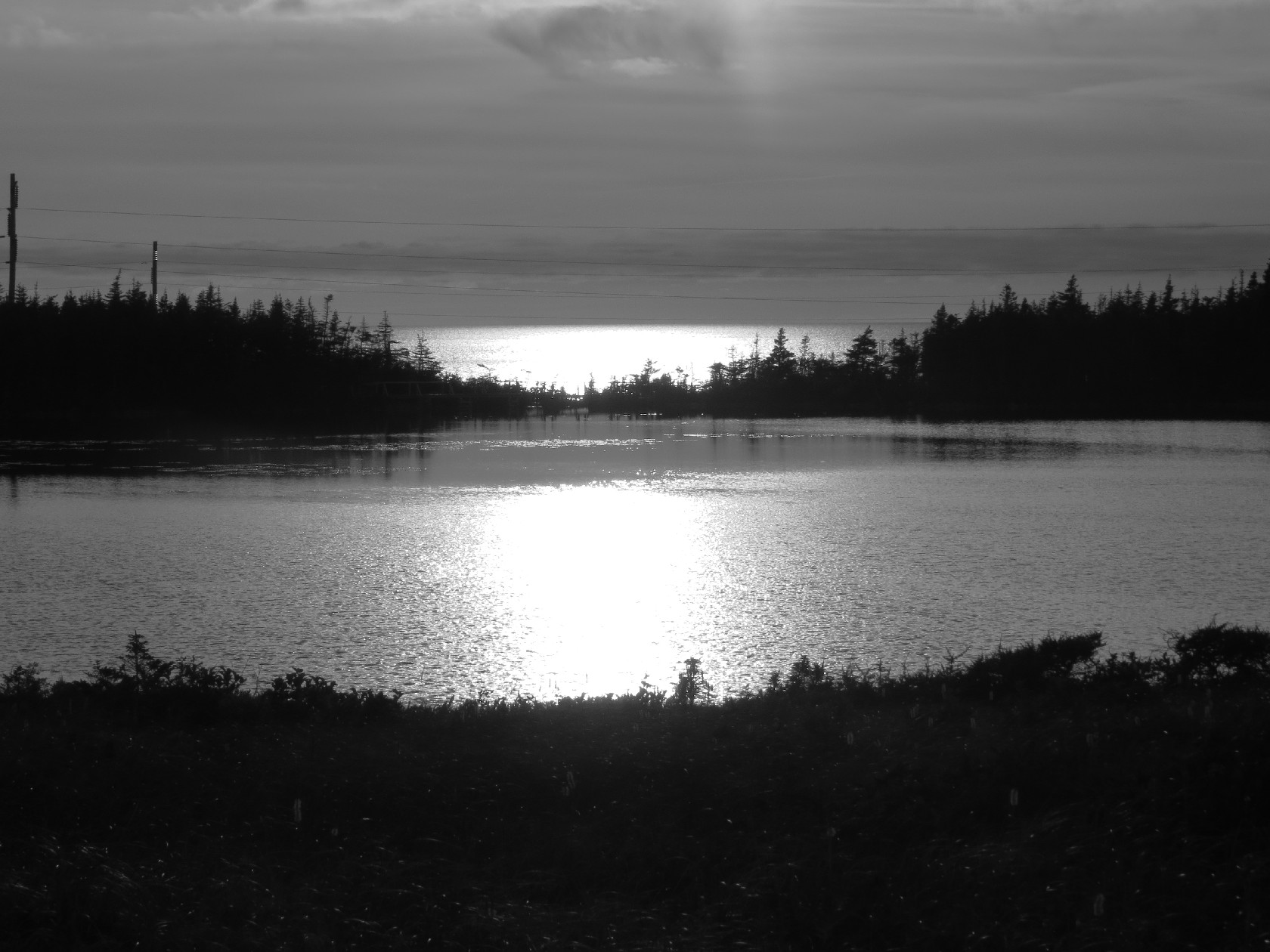 Last glimmers of the sun, Berry Head Pond, NL, B&W