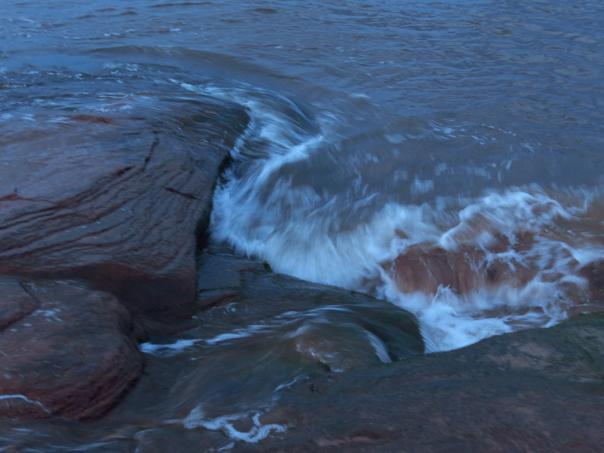 Sea hitting beach rock, Campbell's Cove, PEI