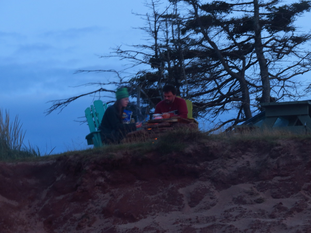 Late meal by campfire, campbell's Cove beach, PEI