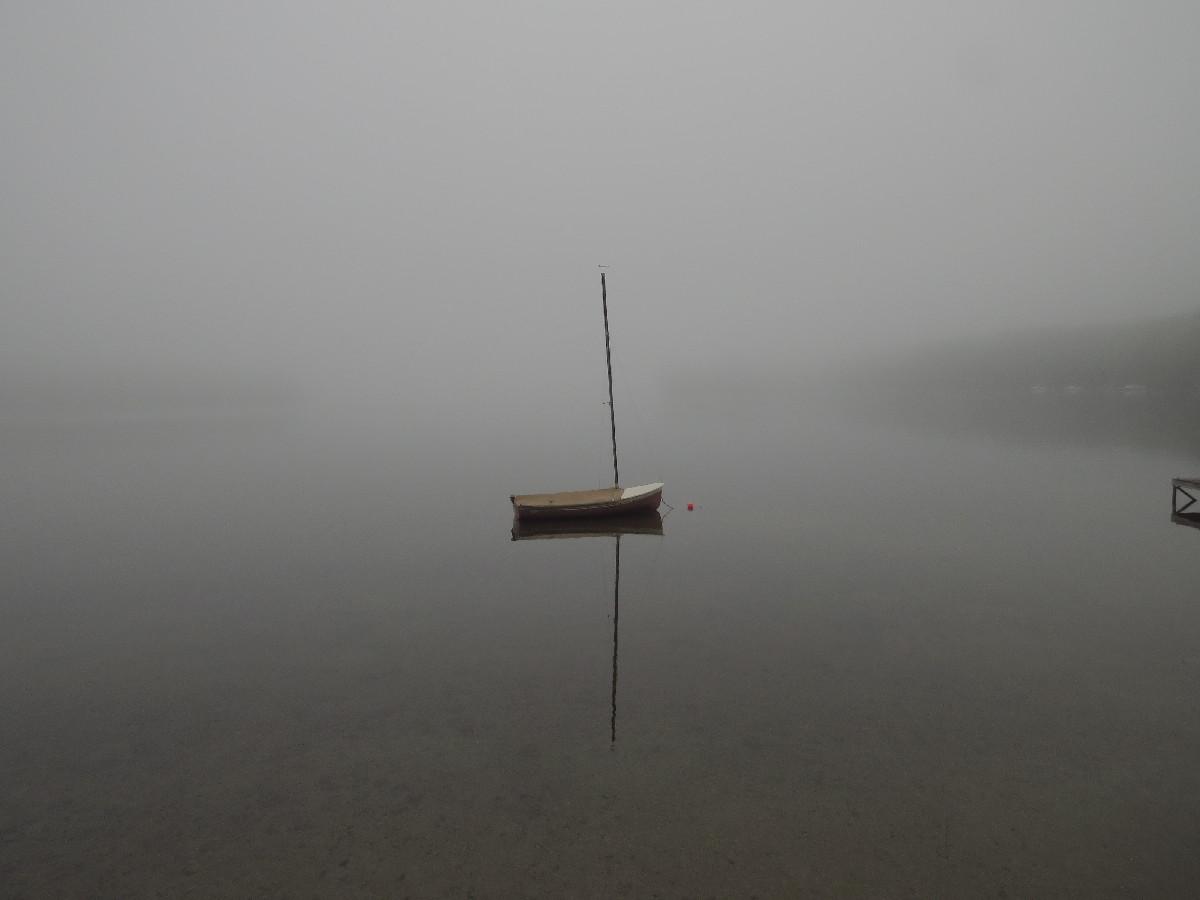 Sailboat in fog, Kennebunk Pond