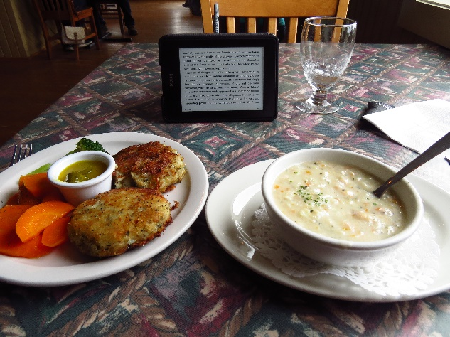Clam chowder and fish cakes at Seaside Restaurnat, Trout River, Newfoundland