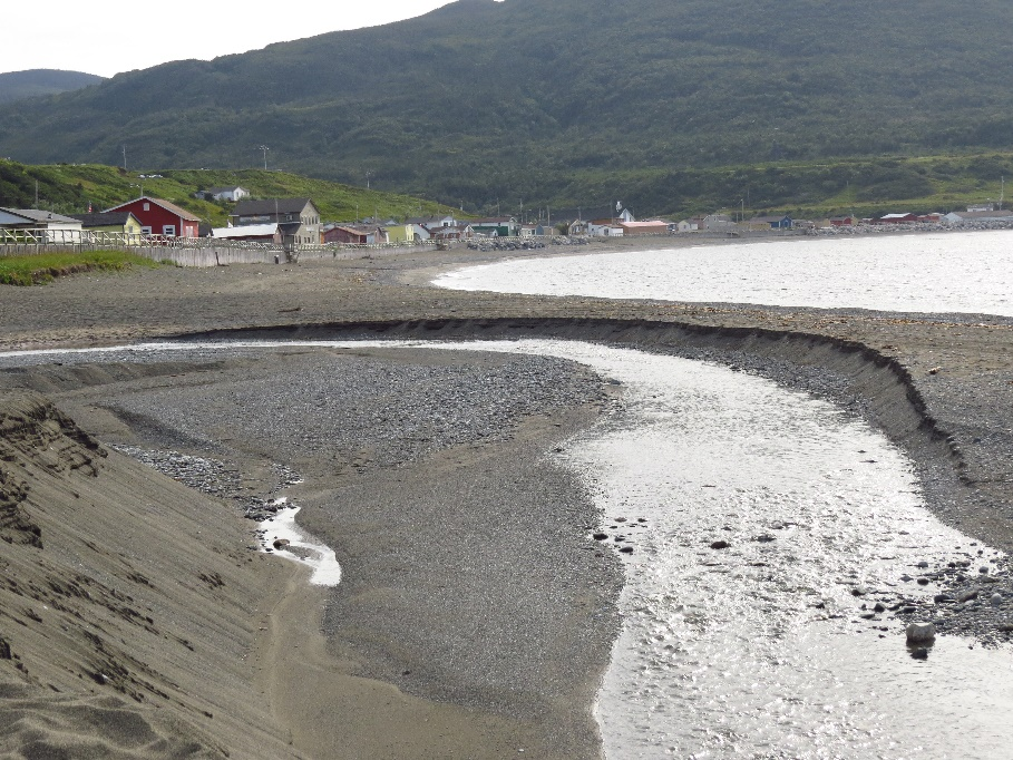 Town of Trout River viewed from Manuel's brook estuary, Newfoundland