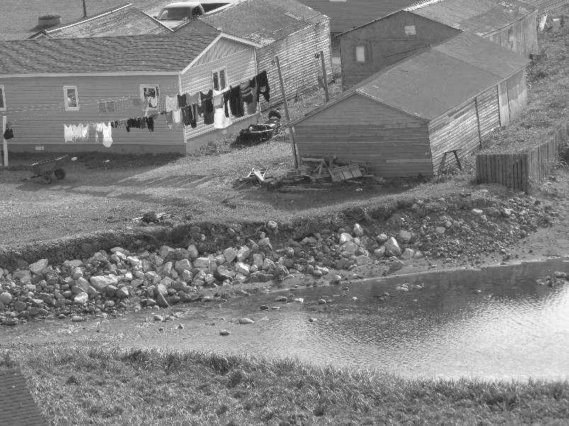 Trout River, Newfoundland, in black and white