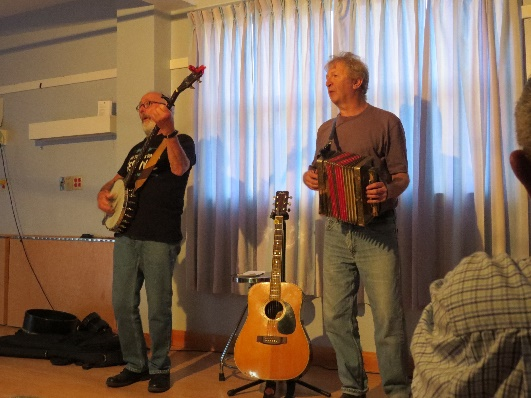 Newfoundland folk music. Jim Payne and Fergus O'Byrne playing accordion and banjo, Woody Point