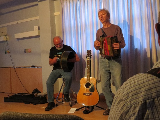 Newfoundland folk music. Jim Payne and Fergus Obyrne playing accordion and Bodharn, Woody Point