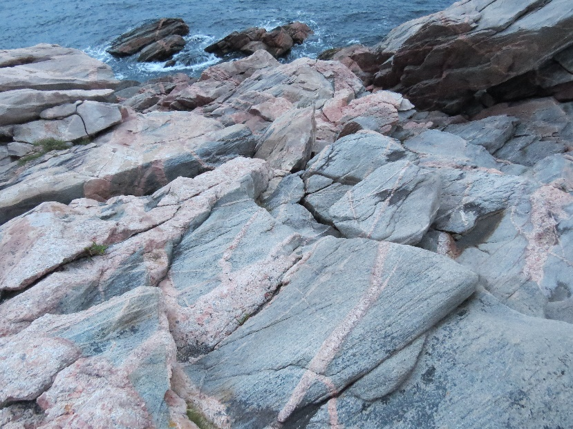 Gneiss and granites with penetrating dykes, Green Cove, Cape Breton's east coast