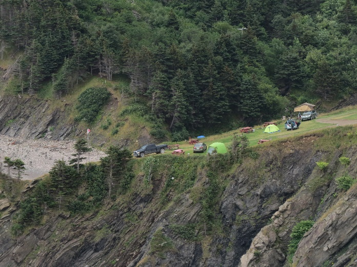 A look back from the mountain at the campground, Meat Cove, Cape Breton