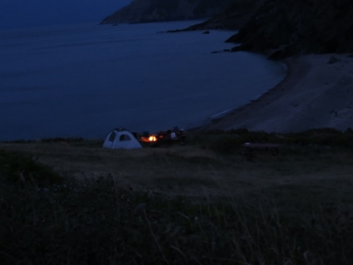 Campground sinking into night, Meat Cove, Cape Breton