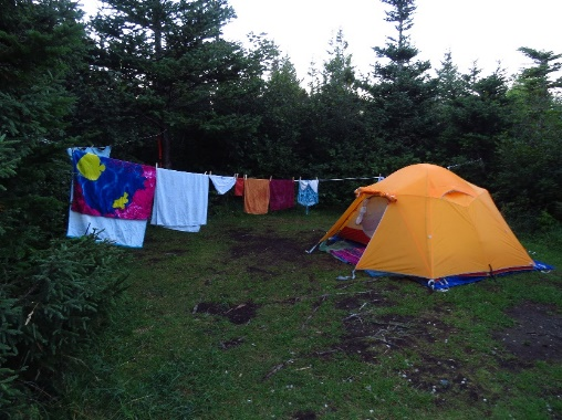 Tent with laundry at Gros Morne's KOA, NL