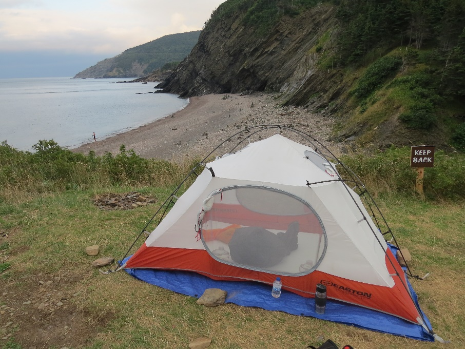 Tenting over cliffs at Meat Cove Campground, cape Breton, NS