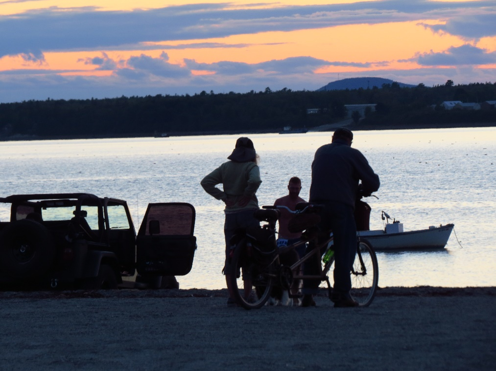 Family enjoying twilight beauty, Hadley's Beach, Mount Desert Island