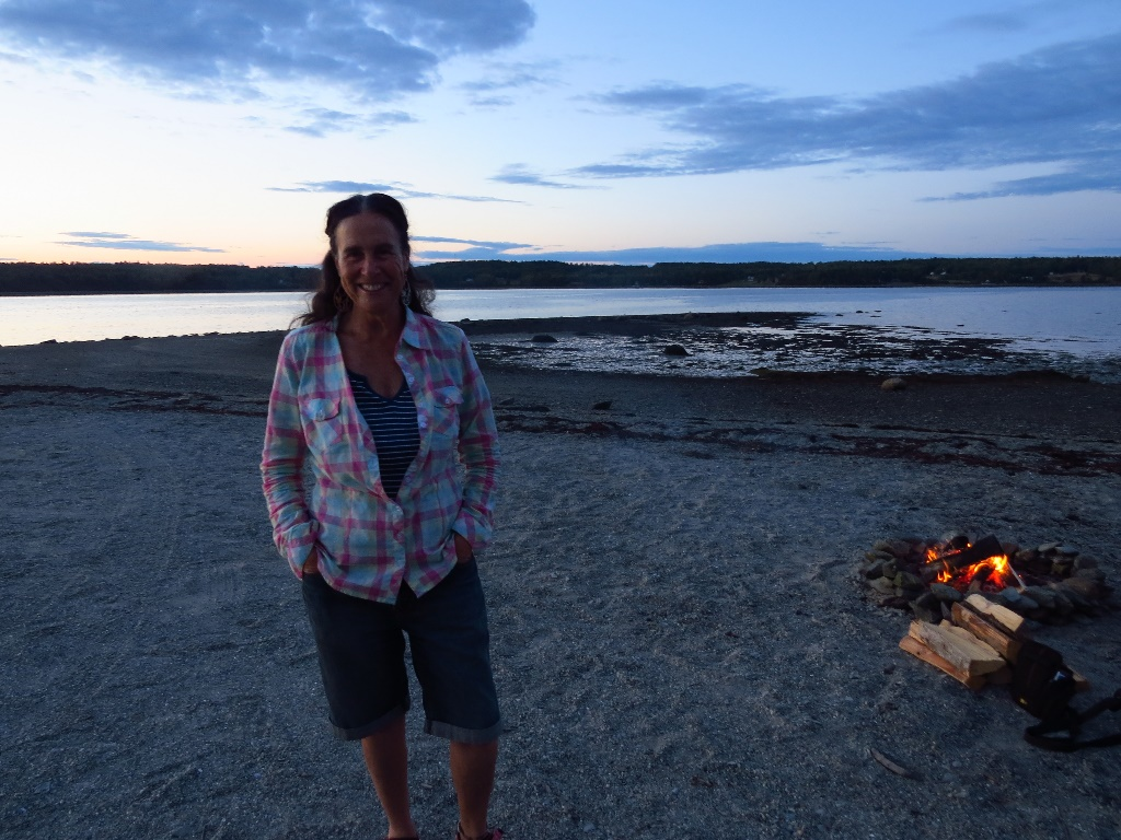 By the bonfire, Hadley's Beach, Mount Desert Island
