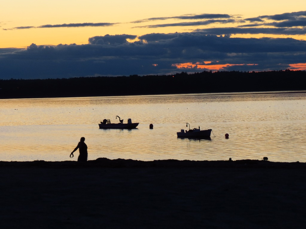 Sailing into dusk, Hadley's Beach, Mount Desert Island