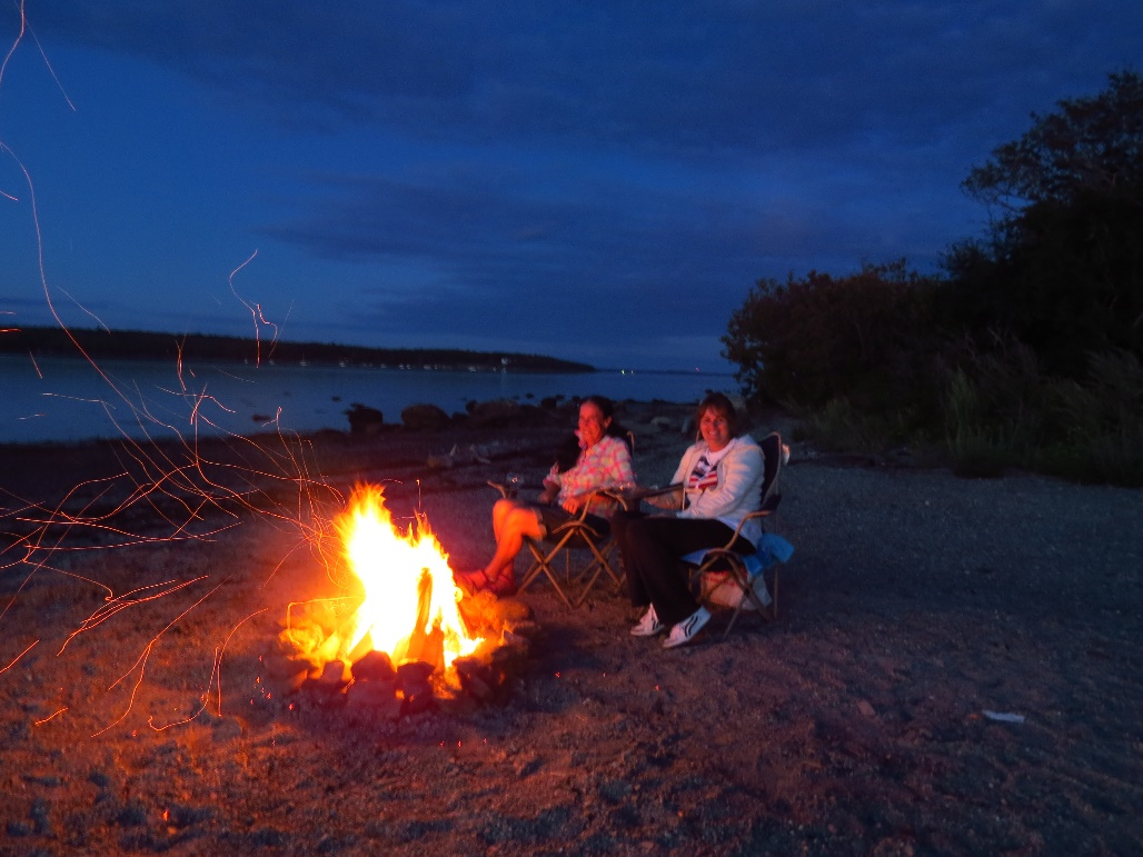 Beach bonfire with Polish couple, Hadley's Beach, Mount Desert Island