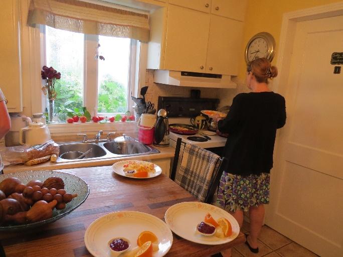 Morning preparations at Morgan's Bed and Breakfast, Shediac, NB