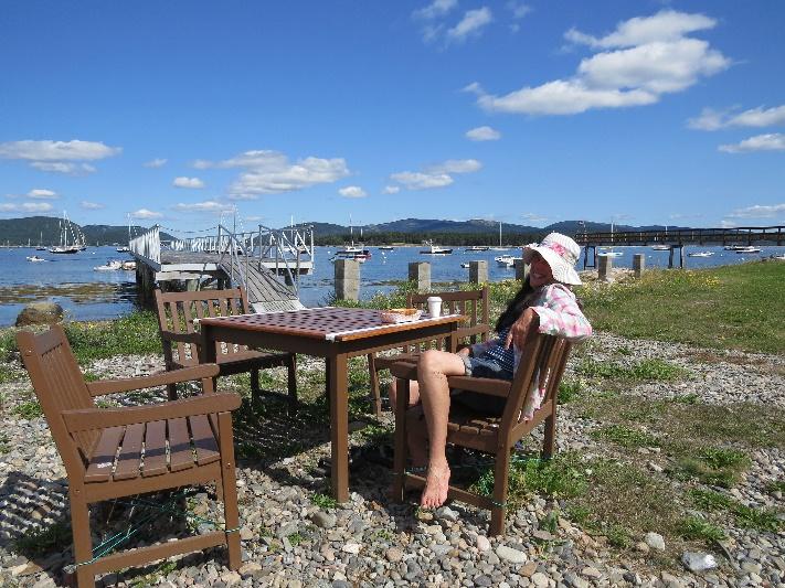 Enjoying a perfect morning at Charlotte's Legendary, NE Harbor