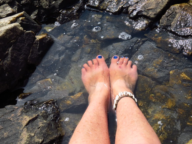 Submerging my feet in cool water, Seal Cove, Mount Desert Island