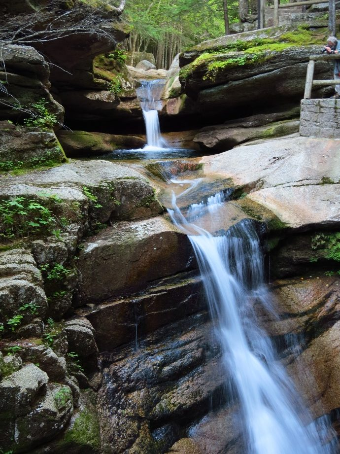 Water cascading down Sabbaday Falls, White Mountains, NH