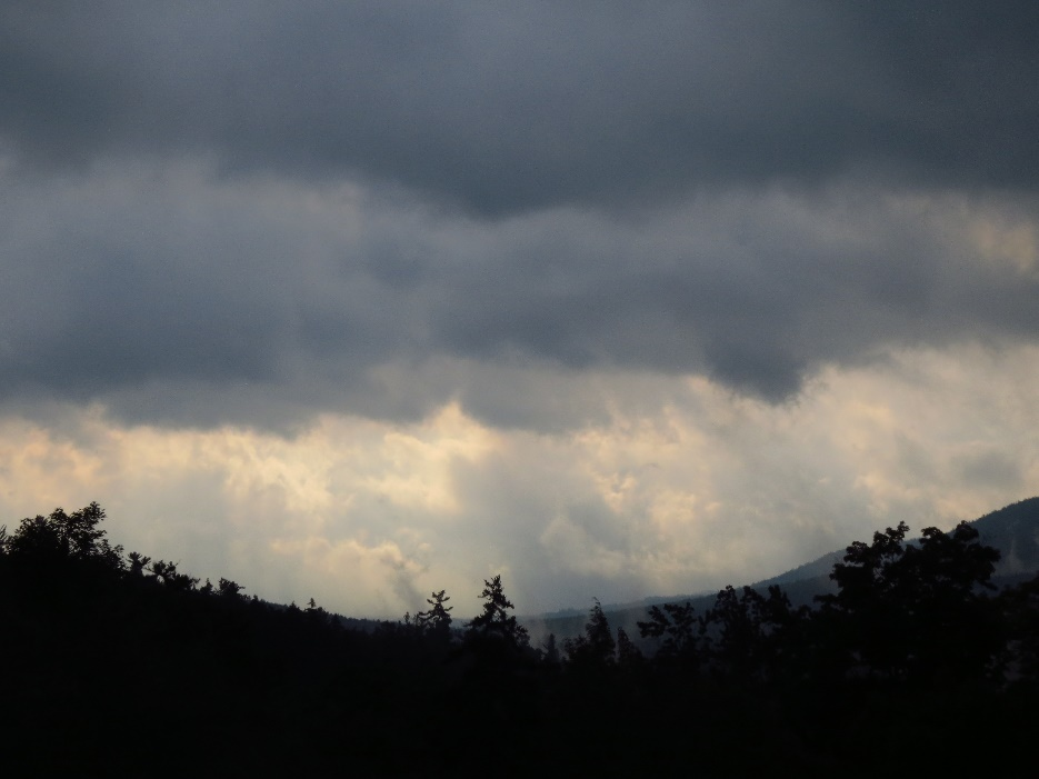 U-valley with storm gathering, White Mountains, Kancamagus Road, NH