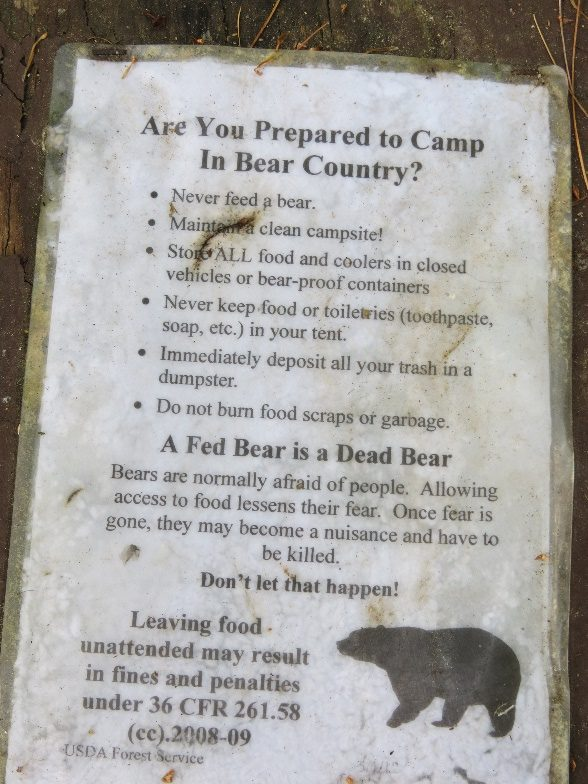 Bear Country rules - Jigger Johnson Campground, NH