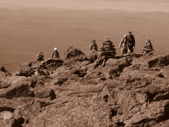 Climbers reaching summit, Mount Washington, NH, sepia