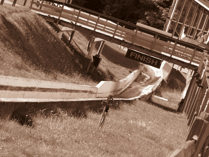 Finish line of old luge/bobsled track, Lake Placid Olympic Complex