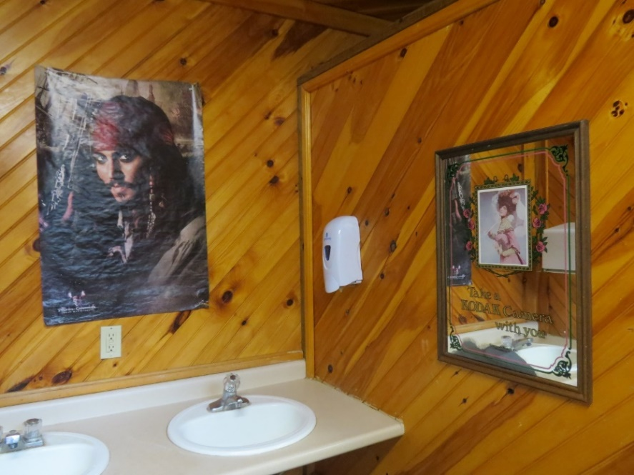 Johnny Depp substitues for the bathroom mirror, Thousand Islands Campground