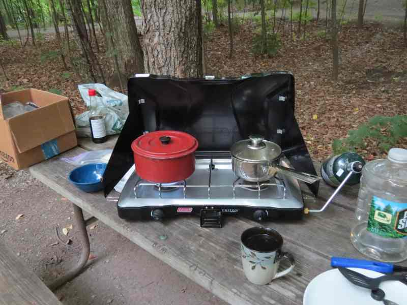 My picnic table with stove, Grand Isle Campground, VT