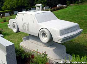 Mercedes tombstone, from granite quarry, Forever, VT