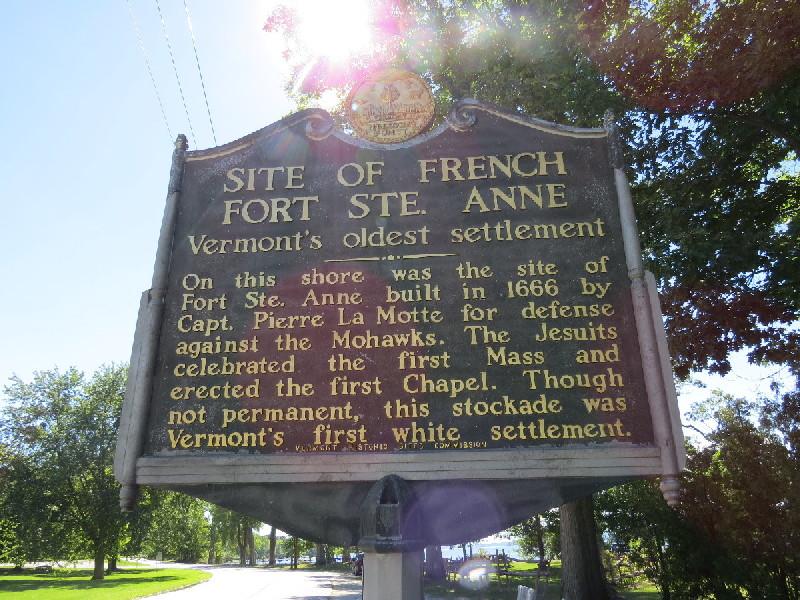 St. Anne's Shrine's historical plaque, Isle La Motte, VT