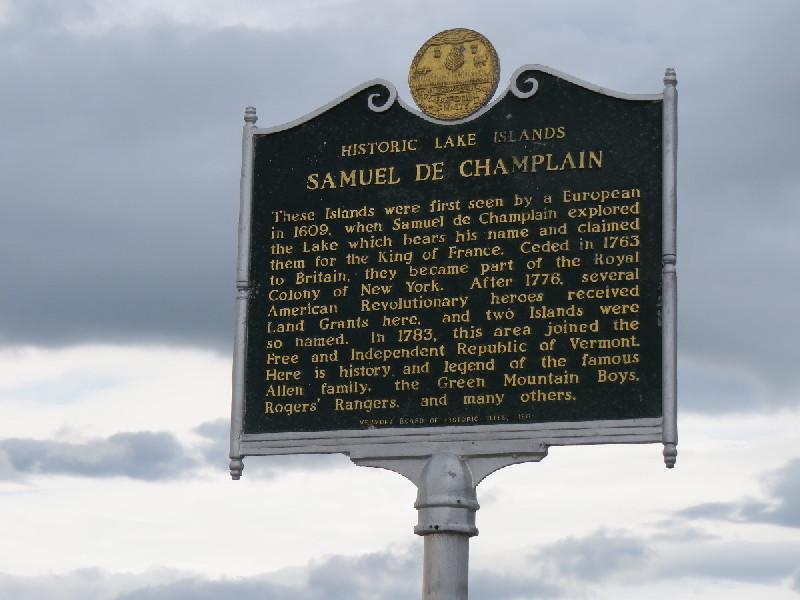 Historical plaque about Samuel de Champlain
