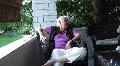 Evening time , Linda on her porch,La Motte, VT